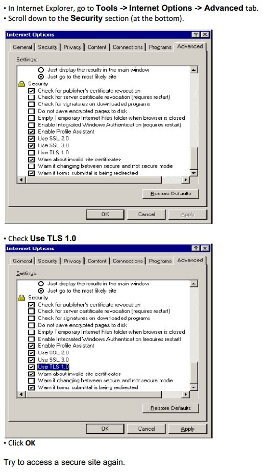 How to enable TLS in Internet Explorer 6